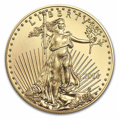 2014 1/10 troy oz. .999 Fine American Gold Eagle $5 coin, BU, Save $1 on 2 coins