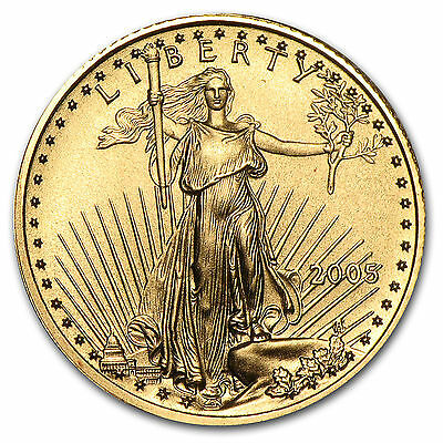 2005 1/10 troy oz. .999 Fine American Gold Eagle $5 coin, BU, Save $1 on 2 coins