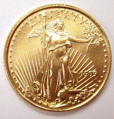 1999 1/10 troy oz. .999 Fine American Gold Eagle $5 coin, BU, Save $1 on 2 coins