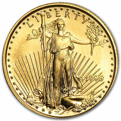 1996 1/10 troy oz. .999 Fine American Gold Eagle $5 coin, BU, Save $1 on 2 coins