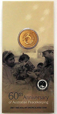 2007 - 60th Anniversary of Australian Peacekeeping $1 Coin on Card - Cat. V. $30