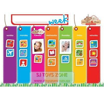 Monkey & Chops Weekly Activity Magnetic Planner Teach Kids Organizational Skill