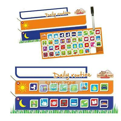 Monkey & Chops Daily Routine Planner Magnetic Chart Kid Home Organize Tool