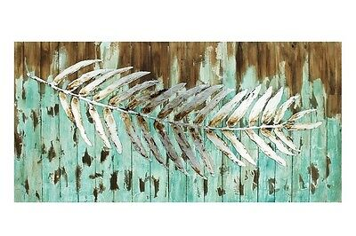 120cm Timber & Metal Canvas Wall Hanging Art w Silver Leaf Turquoise Blue Aqua