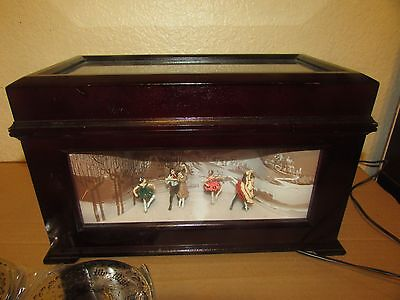 Mr Christmas Animated Wood Music Box Ice Skaters Dancers W/10 Discs works!