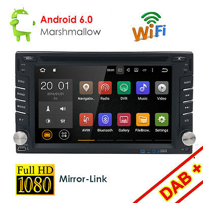 Android 6.0 Double 2 Din Car Stereo Head Unit Radio DVD Player GPS NAV Bluetooth