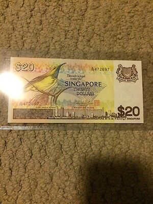 Singapore 20 Dollar Birds Series Note AU With Red Seal