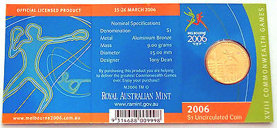 2006 Melbourne XVIII Commonwealth Games $1 Coin in card of issue - 'M' Mint Mark