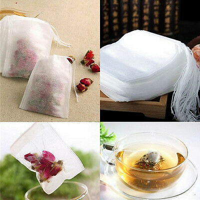 100pcs non-woven Empty Teabags String Heat Seal Filter Paper Herb Loose Tea Bags