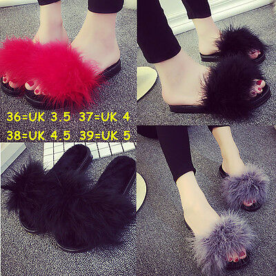 Open Toe Feather Sliders Slippers Fur Fluffy Marabou Mules Slip On Comfy Sandals