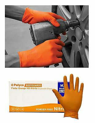Polyco Finite Orange HD Bodyguard Nitrile Reusable Gloves Sizes 7 8 9 10-Pack 90