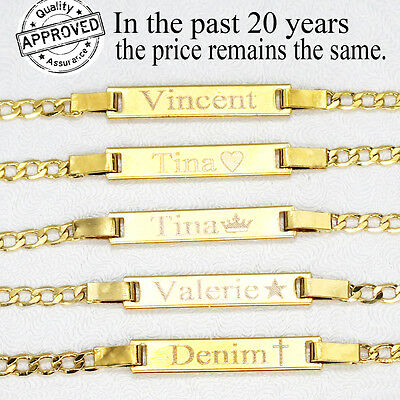18K Gold Filled Baby ID Bracelet With Engraving 6' adjustable for new born to 12