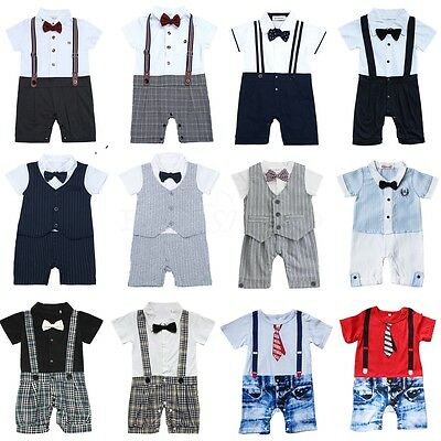 One-Piece Baby Boys Gentleman Tuxedo Suits Formal Romper Jumpsuit Outfits 0- 24M 7088e2a2a6