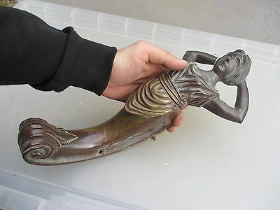 Victorian Cast Brass Lady Shelf Holder Bracket Architectural Antique Old 6.2kg