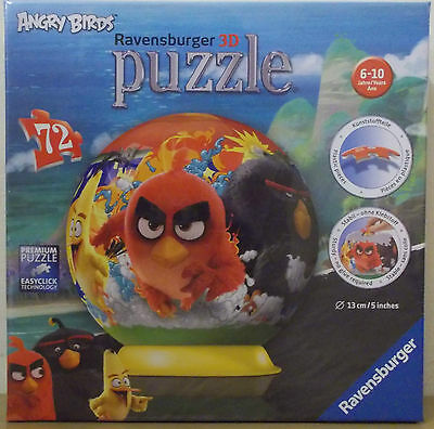 Angry Birds ~ 3D Puzzle Ball Jigsaw 15cm ~ 72 Pieces Ravensburger