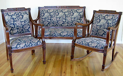 Antique 3-Piece Carved Mahogany Parlour Set: Settee, Rocking Chair, Arm Chair