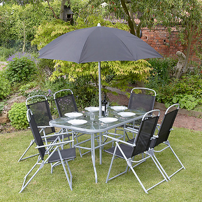Black 8 piece garden furniture outdoor patio dining set for Outdoor furniture 12 seater