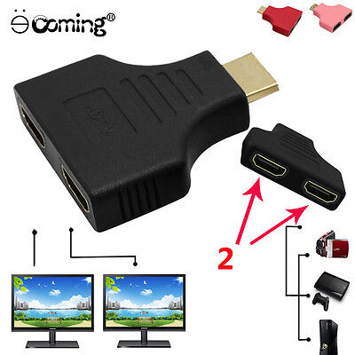 1080P HDMI Port Male to 2 Female 1 In 2 Out Splitter Cable Adapter Converter Hot