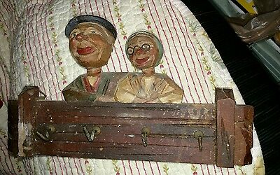 Vintage Hand Carved Wood Painted Old Man Woman Folk Art with hooks  Trygg ?