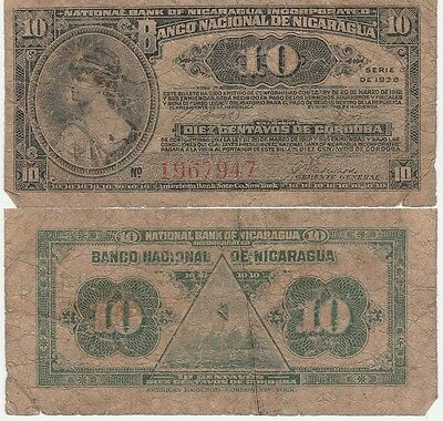 Nicaragua 10 Centavos Banknote 1938 Very Good Condition Cat#87-A