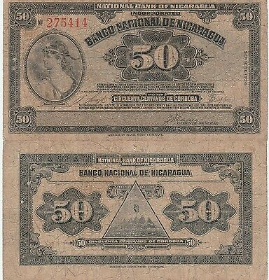 Nicaragua 50 Centavos Banknote 1938 Very Good Condition Cat#89-A