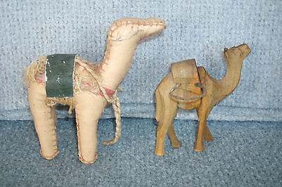 2 Collectible Hand Sewn Stuffed Leather & Hand Carved Wood Desert Camels