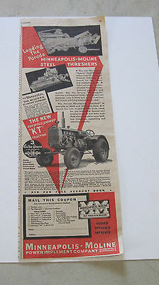 "1936 Minneapolis Moline Model ""KT"" Tractor large 1/2 page ad"