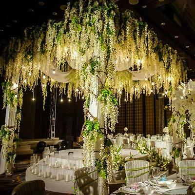 12 Bunches Artificial Silk Wisteria Wedding Party Decor Hanging Flower Ivy Vine