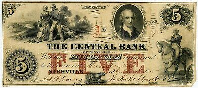 Nashville, TN Obsolete $5 1833 Central Bank F Edge Damage