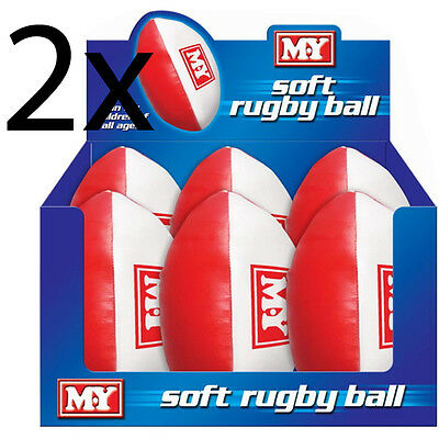 Set Of 2 Rugby Ball Sports Childrens Outdoor Games Throwing Catching Soft Pvc