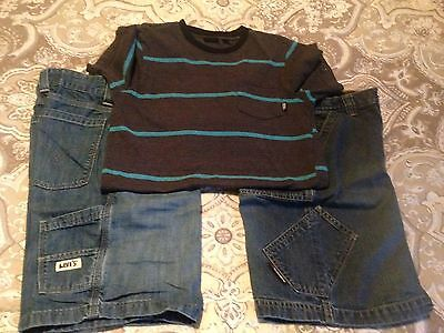 Boys Lot Of 3 - Old Navy Jean Shorts /levis Shorts / Vans Shirts - Size 12 / L