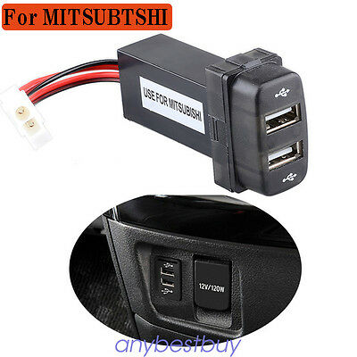 Car 2 USB Port Dashboard Phone Charger Adapter DC12V For Mitsubishi 6.5x2x3.5cm
