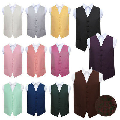 DQT Woven Geometric Greek Key Formal Tuxedo Mens Wedding Waistcoat Chest S-5XL