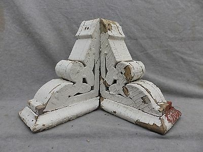 Antique Pair Wood Small Corbels Shabby Cottage Chic Vintage 261-17R