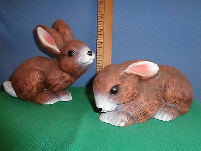 2 Vtg. 1989 Art Line Inc. Resin Hard Plastic Bunny Rabbits-Charming!