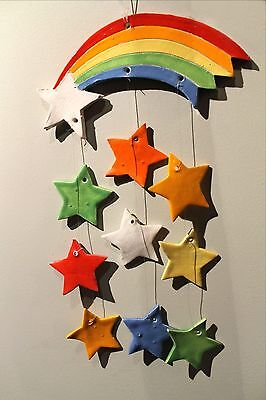"Primary Colored Rainbow & Stars Pottery Nursery Mobile, 16"" Long"