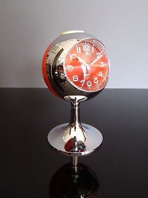 TREO clock alarm orange chrome tulip reveil tulipe space age 70's vintage