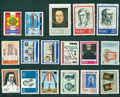Peru Assortment 13 MNH Warships Famous Men Philately Arms $$