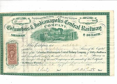 Columbus & Indianapolis Central Railway Company....1866 Stock Certificate