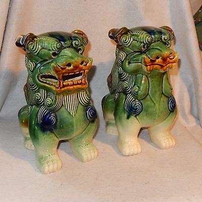 """10"""" Pair Vintage Ceramic FOO DOGS Large Green Feng Shui Majolica Chinese Asian"""