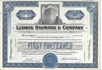 Ludwig Baumann & Company.....unissued Stock Certificate
