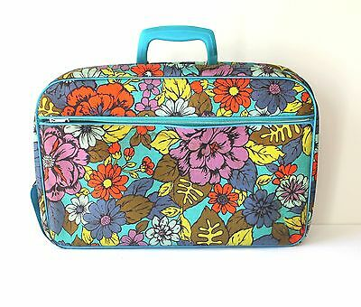 Vintage Childrens Floral Suitcase with Lock and Key Super Cute!