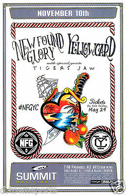 NEW FOUND GLORY / YELLOWCARD 2015 Denver 11x17 Concert Flyer / Gig Poster