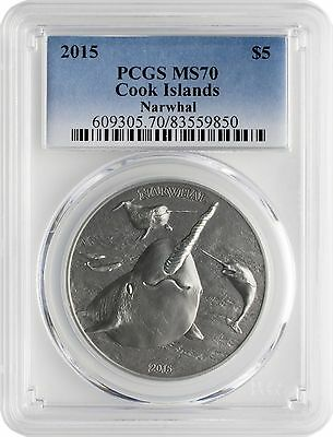 2015 $5 Cook Islands Narwhal .999 Silver Antique Finish Coin PCGS MS70