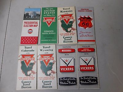 Lot of 8- Vintage Service Station Maps- Conoco, Vickers, Phillips 66, Gulf