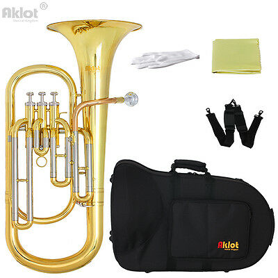 Aklot Professional Bb Baritone Horn Cupronickel Tuning Pipe Gold Brass Lacquered