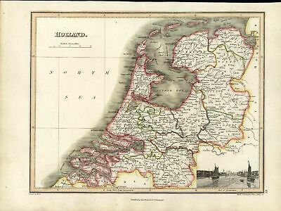 Holland Netherlands Utrecht Haarlem w/ Amsterdam view 1819 antique color map