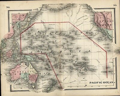 Pacific Ocean Islands Australia New Zealand 1865 Colton small antique map
