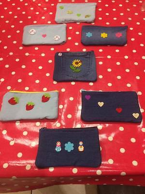Handcrafted Denim Purses/ Pencil cases/ Make up pouch