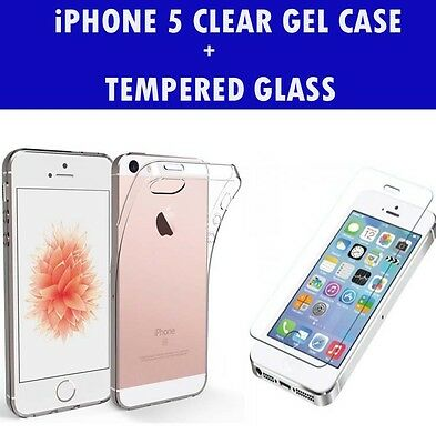 For Apple iPhone 5/5S Clear Gel Case And Tempered Glass Screen Protector